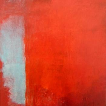 Türkis auf Rot      30x24 cm
