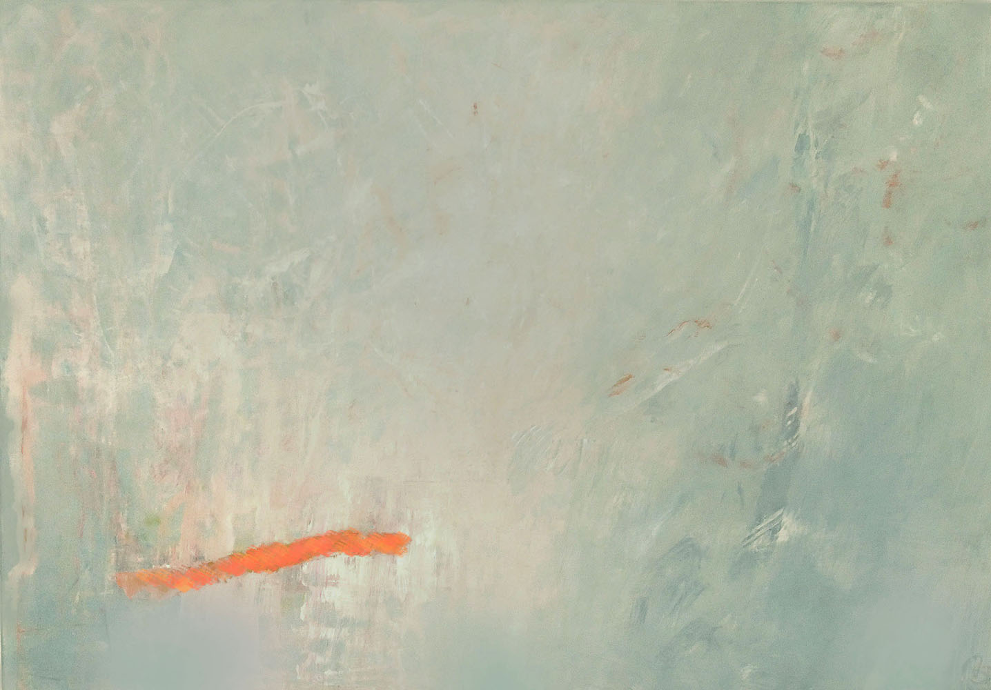 Bewegtes Feld mit Orange130x90 cm