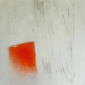 Weiß mit Rot  40x40 cm